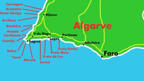 mappa algarve surf