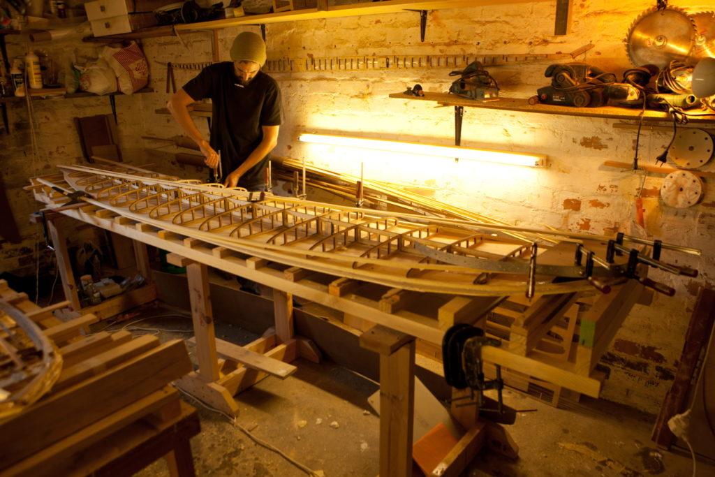 tavola surf in legno longboard fatta in casa