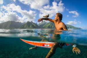 sedersi sulla tavola da surf